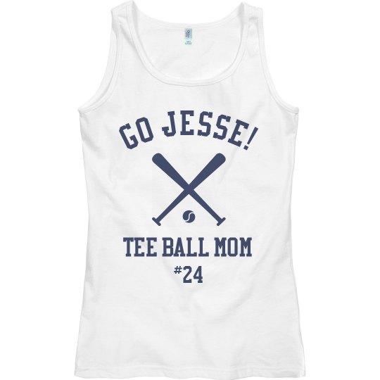 Custom Name Tee Ball Mom