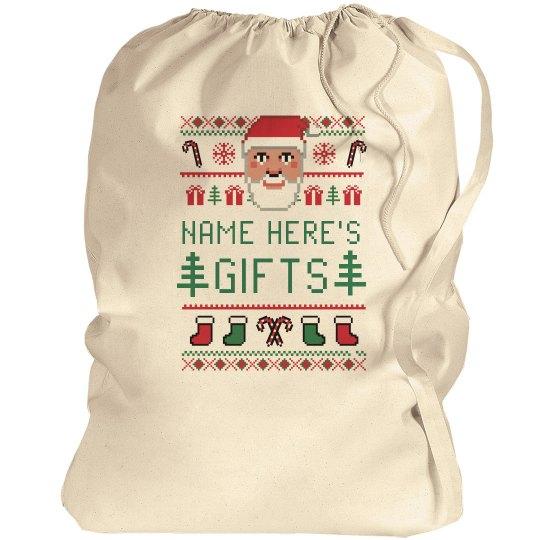 Custom Name Ugly Sweater Santa Bag