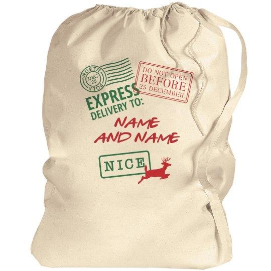 Custom Names Santa Delivery Bag