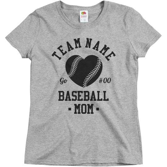 Custom Number Baseball Mom