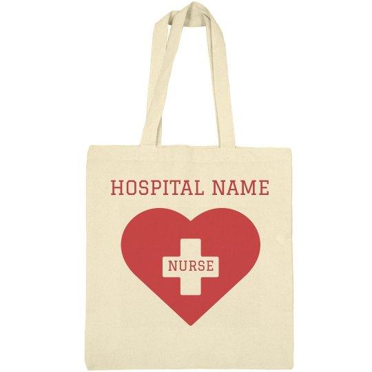Custom Nurse Heart Tote Bag