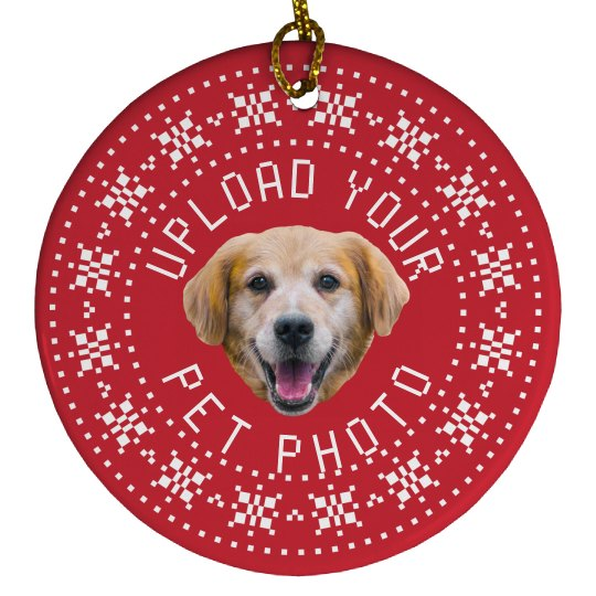 Custom Pet Photo Holiday Ornament
