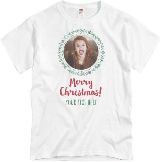 Custom Photo Text Christmas T-Shirt