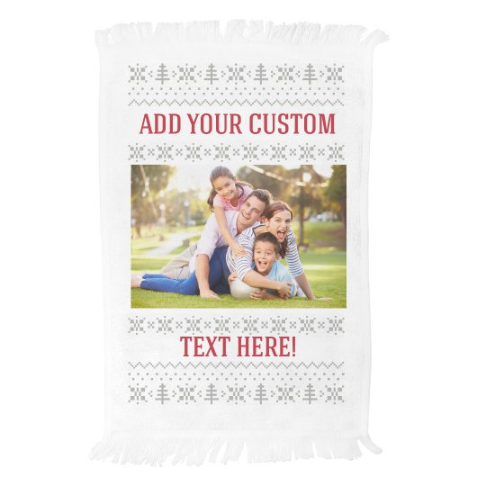 Custom Photo Ugly Sweater Pattern Towel