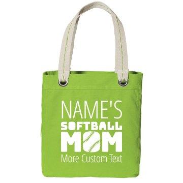 Custom Player Name's Softball Mom