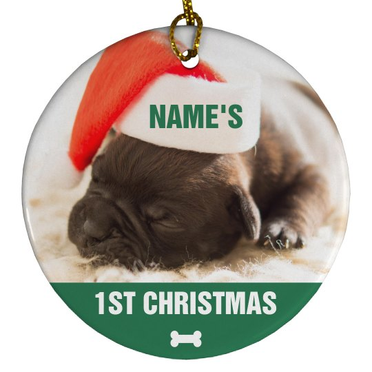 Custom Puppy Photo 1st Christmas