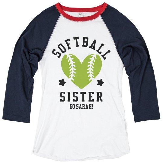 Custom Raglan Softball Sister