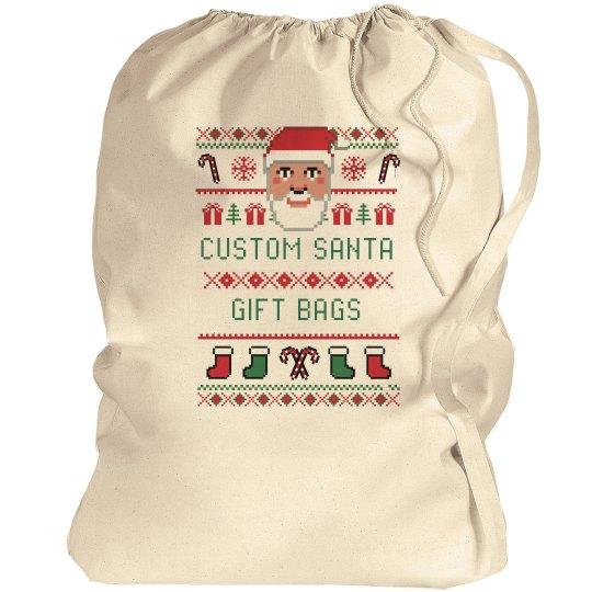 Custom Santa Christmas Gift Bags