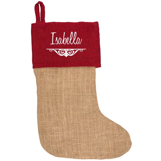 Custom Script Red Accent Stocking