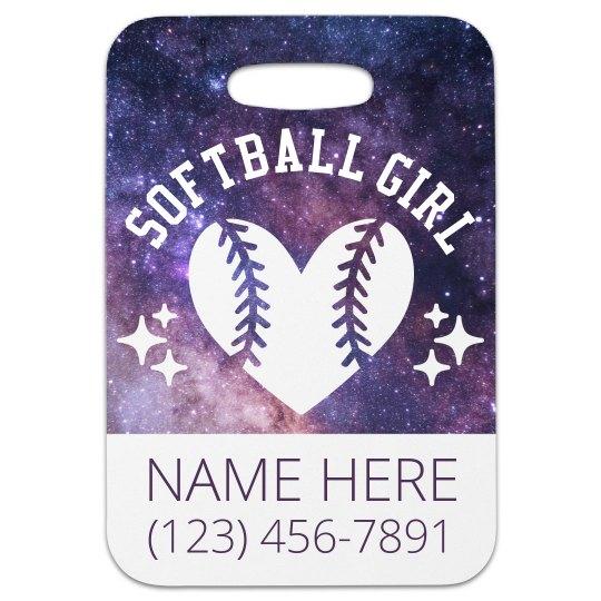 Custom Softball Girl Luggage Tag