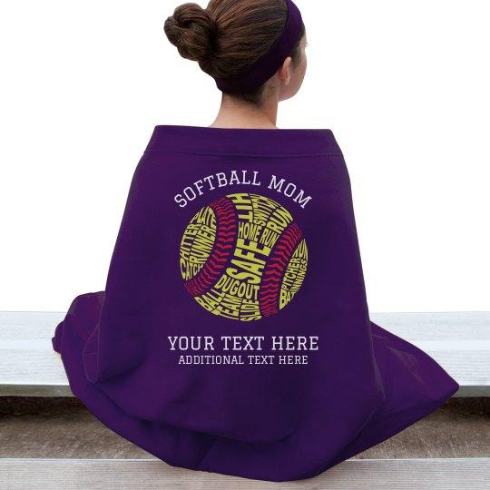 Custom Softball Mom Blanket