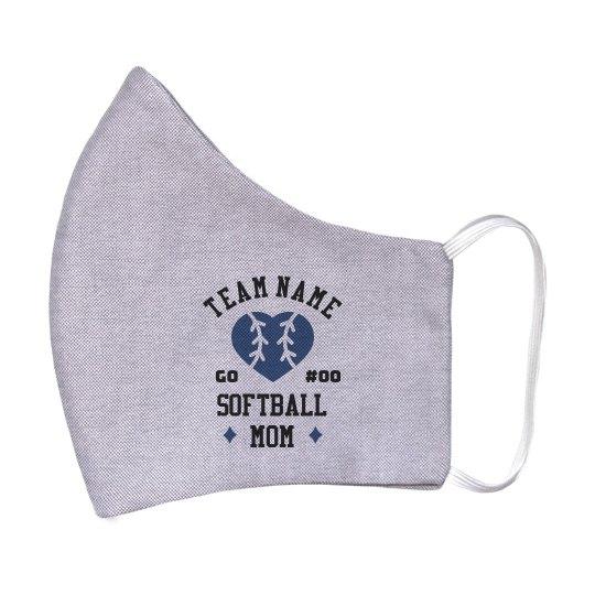 Custom Softball Mom Face Mask