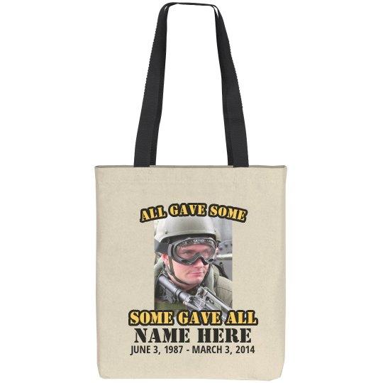 Custom Soldier Memorial Tote Bag