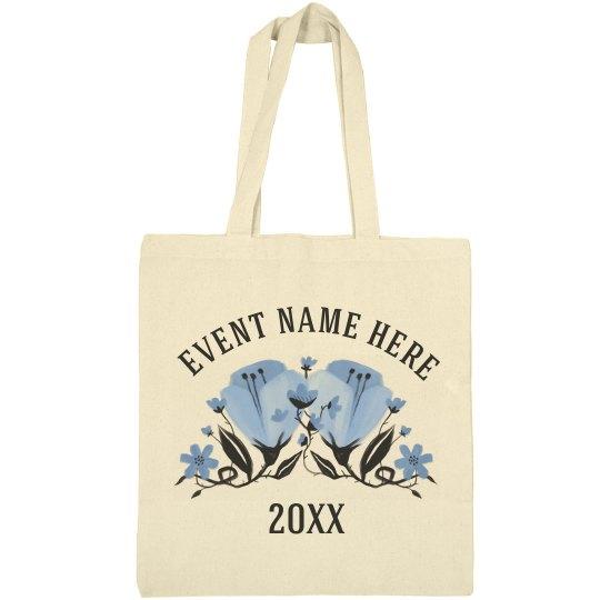 Custom Spring Event Blue Floral Bag