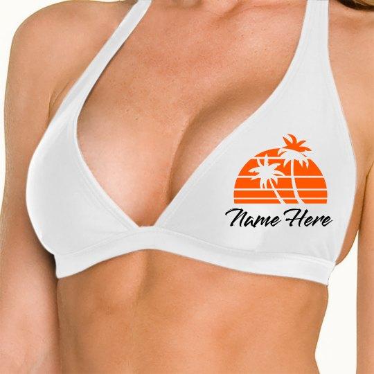 Custom Summer Theme Swim Halter Top