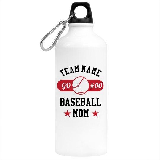 Custom Team Baseball Mom Water Bottle