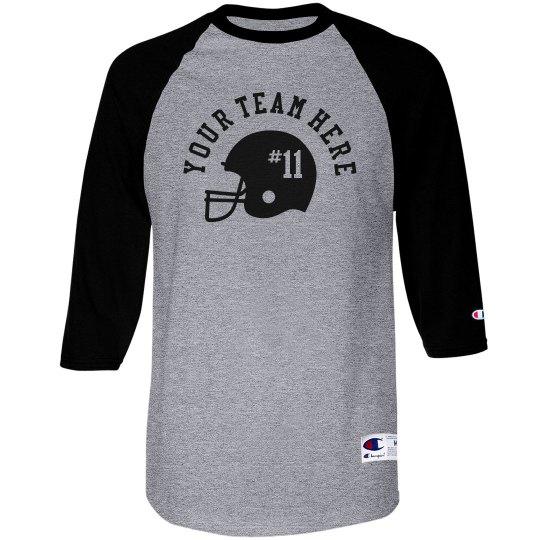 Custom Team Name, Number, Football Raglan T-shirt