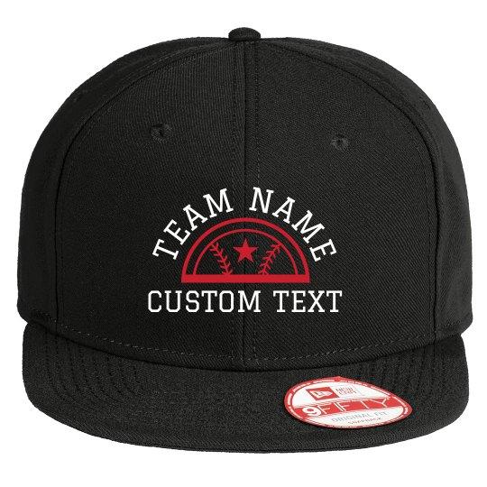 Custom Team Text Baseball Flat Bill Hat