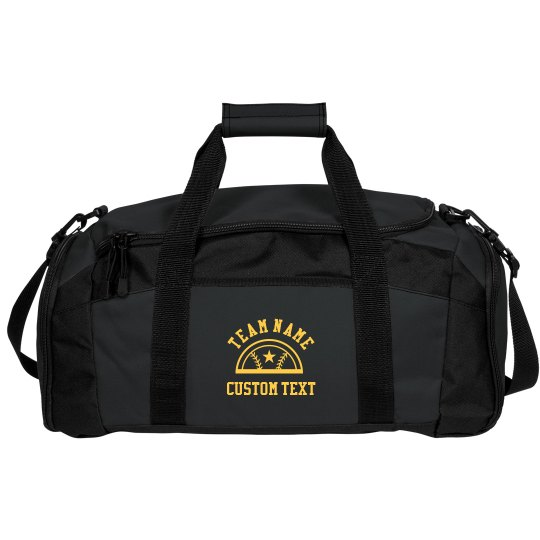 Custom Team Text Baseball Star Duffel