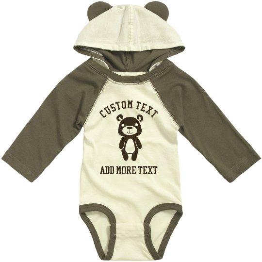 Custom Text Baby Hooded Ears