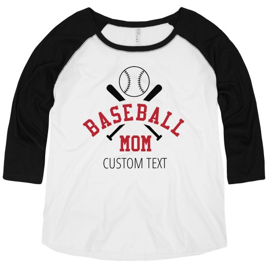 Custom Text Baseball Mom Tee