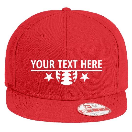 Custom Text Baseball Star Flat Bill Hat