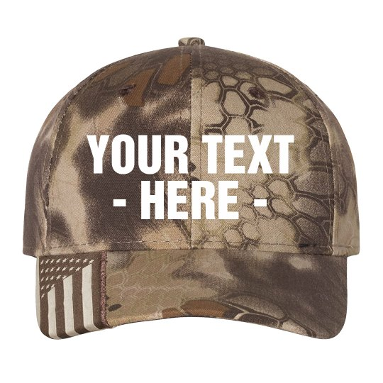 Custom Text Camo Flag Hat
