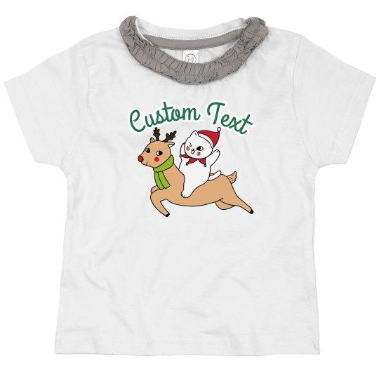 Custom Text Cat & Reindeer Toddler Tee