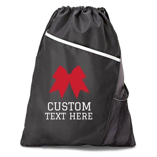 Custom Text Cheer Bow Drawstring