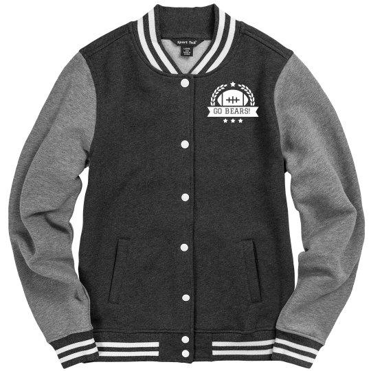 Custom Text Football Emblem Letterman Jacket