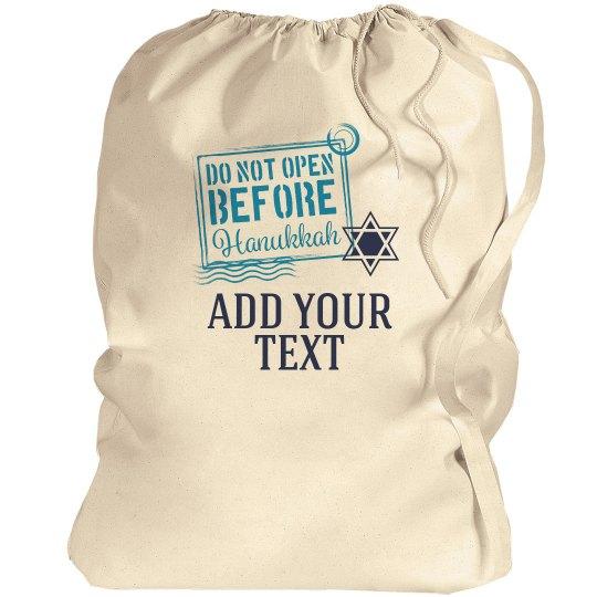 Custom Text Hanukkah Label Gift Bag