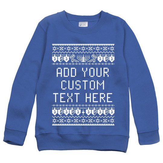 Custom Text Hanukkah Ugly Sweater