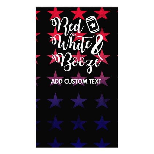 Custom Text July 4th Stars