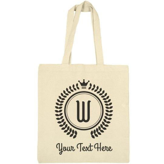 Custom Text Last Name Letter Tote Bag
