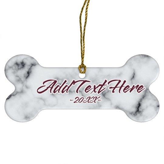 Custom Text Marble Pet Ornament