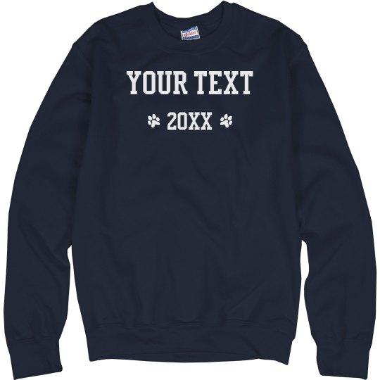 Custom Text Paw Print Sweater
