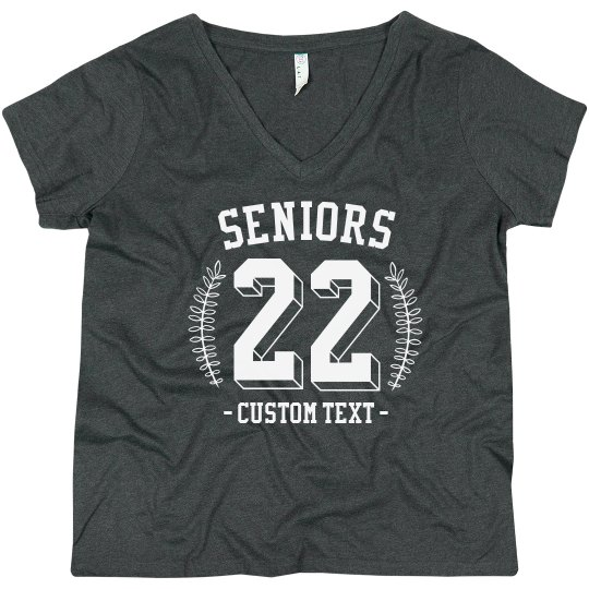 Custom Text Seniors Curvy V-Neck