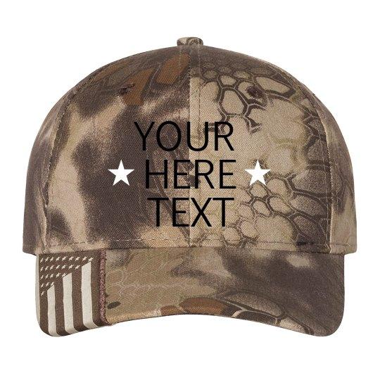 Custom Text Star Flag Hat