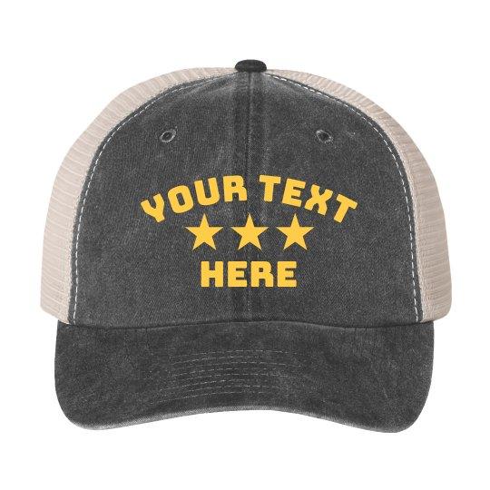 Custom Text Star Hat