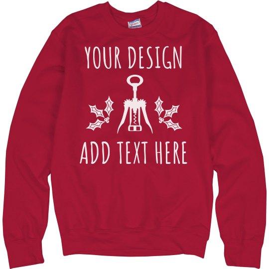 Custom Text Wine Christmas Sweater