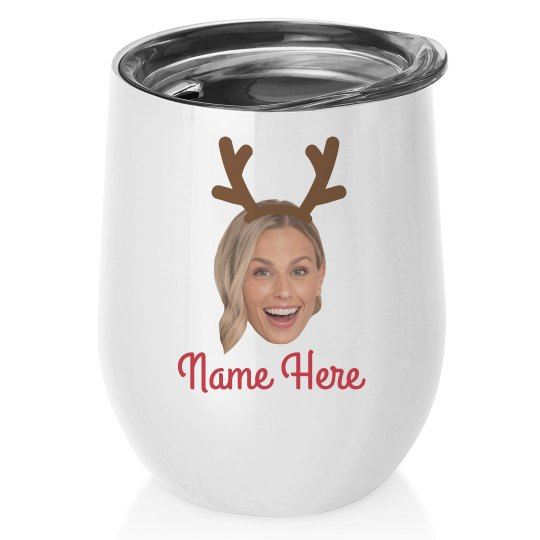 Custom Upload Reindeer Wine Tumbler
