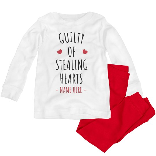Custom Valentine's Heart Stealer Toddler Pajamas