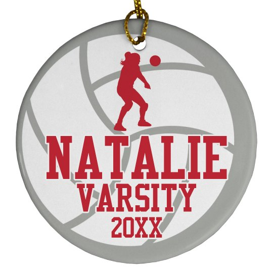 Custom Volleyball Varsity Christmas Gift Ornament