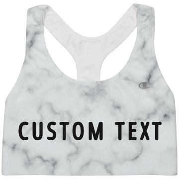 Custom White Marble Sports Bra