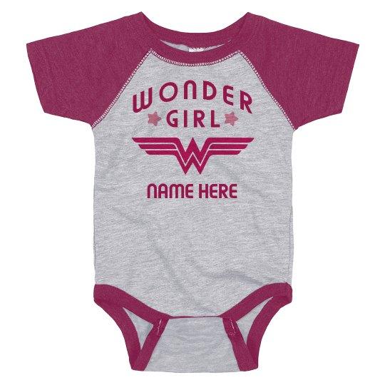 Custom Wonder Girl Raglan Bodysuit