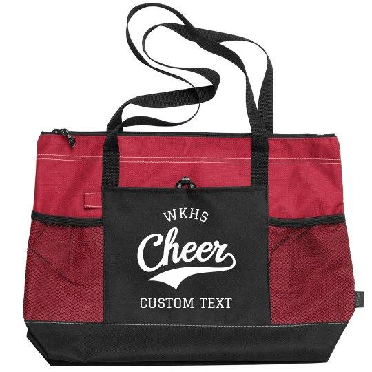Customizable Cheer Zippered Travel Tote