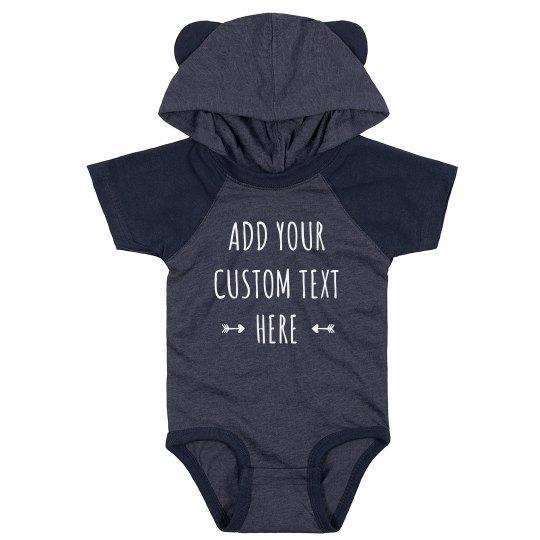 Customizable Hood & Ears Baby Bodysuit