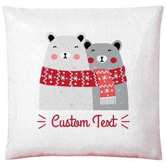 Customizable Polar Bear & Scarves Sequin Pillow Case
