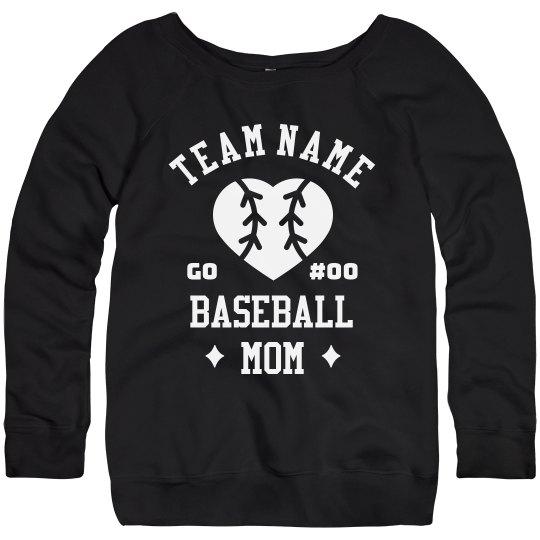 Customizable Team & Number Baseball Mom