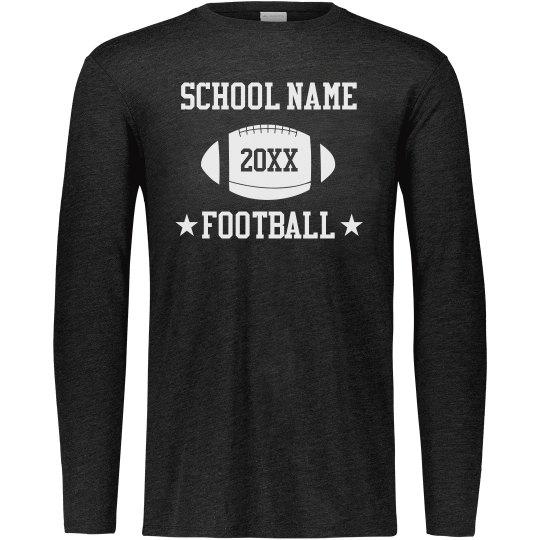Customized School Name Year Football Long Sleeve Tee